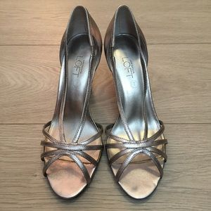 Ann Taylor Loft silver sandal heels
